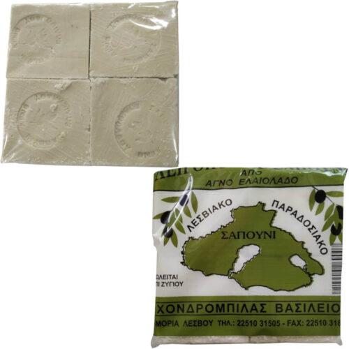 Παραδοσιακό Σαπούνι Ελαιολάδου, Λευκό, Λεσβιακή Γη, συσκευασία 4Χ250γρ