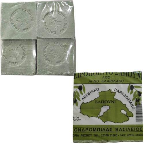 Παραδοσιακό Σαπούνι Ελαιολάδου, Πράσινο, Λεσβιακή Γη, συσκευασία 4Χ250γρ